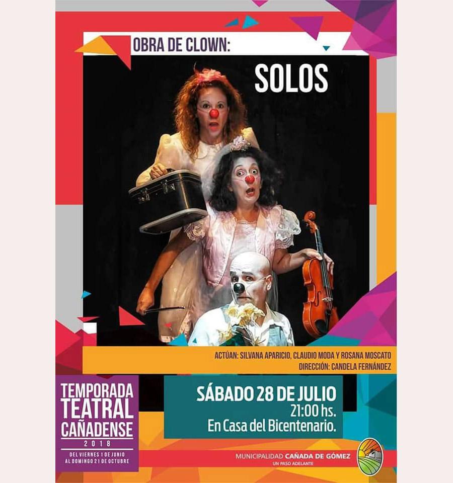 """Obra de Clown """"Solos"""" en la temporada teatral de Cañada de Gómez, Claudio Moda"""