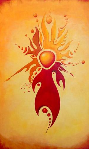 """Pintura """"Fuego"""", Serie """"Los cinco elementos"""" by Claudio Moda"""