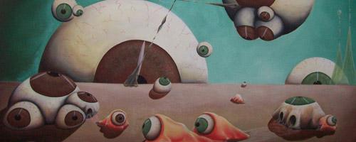"""Pintura de la serie """"Nada que ver"""" del autor Claudio Moda"""