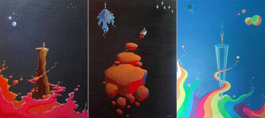 Pinturas de la serie Casiopeos autor Claudio Moda