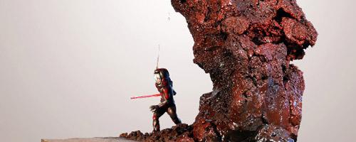 Diorama Un templario en Marte del artista Claudio Moda